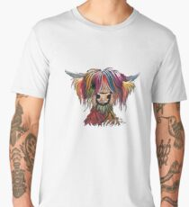 Scottish Hairy Highland Cow ' OLIVER ' by Shirley MacArthur Men's Premium T-Shirt