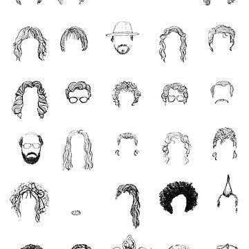HAIR OF STRANGER THINGS CHARACTERS minimal sketch  by flatlaydesign