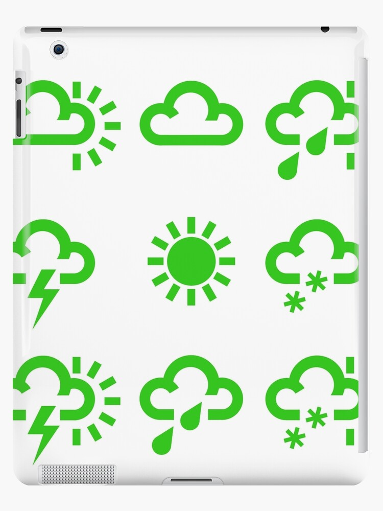 Green Weather Forecast Symbols Design Ipad Cases Skins By