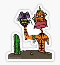 Alien Tribal Puppet Master with Cactus and Tattoos Sticker