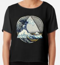Vintage Hokusai Mount Fuji Great Tsunami Wave Japanese Geometric Manga Shirt Chiffon Top