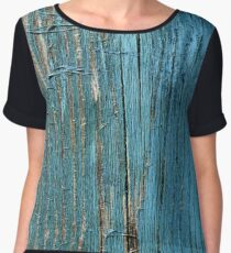 Rustic wood effect shabby print in turquoise Chiffon Top