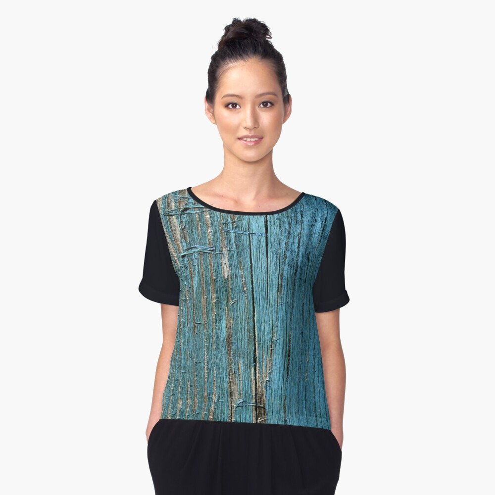 Rustic wood effect shabby print in turquoise Women's Chiffon Top Front