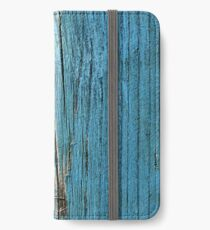 Rustic wood effect shabby print in turquoise iPhone Wallet/Case/Skin