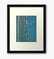 Rustic wood effect shabby print in turquoise Framed Print