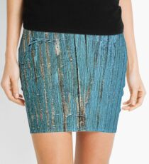 Rustic wood effect shabby print in turquoise Mini Skirt