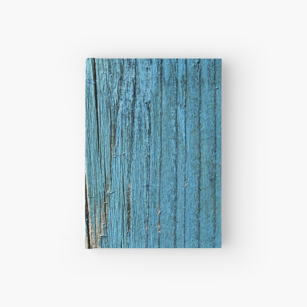 Rustic wood effect shabby print in turquoise Hardcover Journal