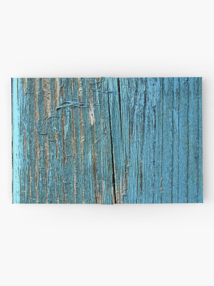 Alternate view of Rustic wood effect shabby print in turquoise Hardcover Journal