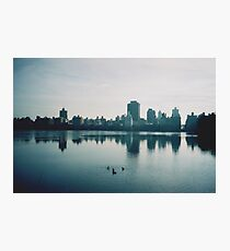 Film photo of Central Park, New York City, with its lake and surrounded buildings Photographic Print