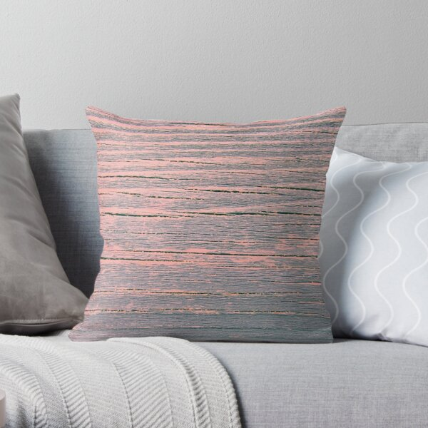 Rustic weathered wood pink and blue ombre shabby Throw Pillow