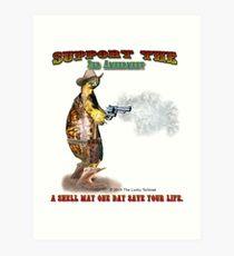 Support the 2nd Amendment Cowboy Turtle Art Print