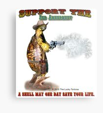 Support the 2nd Amendment Cowboy Turtle Metal Print