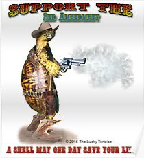 Support the 2nd Amendment Cowboy Turtle Poster