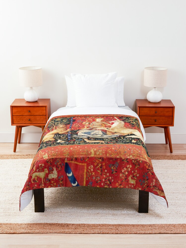 Alternate view of LADY AND UNICORN ,SIGHT  Red Green Fantasy Flowers,Animals Comforter