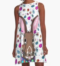Easter Bunny Easter Eggs A-Linien Kleid