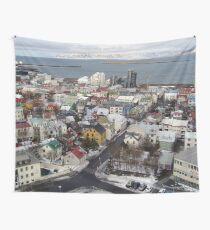 Reykjavik Iceland Skyline Wall Tapestry