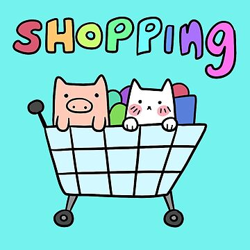 Cat and Pig Shopping Cart by SaradaBoru