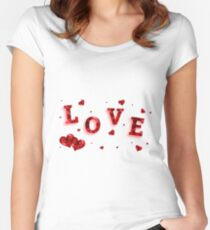 Red love motif  Women's Fitted Scoop T-Shirt