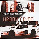 Swamp Music Players, Urban Crime, Retro 1980s Miami skyline, Testarossa & Bell Chopper by swampmusicinfo