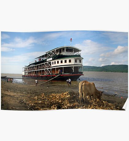 The 'Pandaw IV' moored on the upper Irrawaddy River, Burma Poster