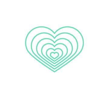 Forma de corazón Multi Mint de jashirts