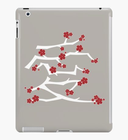 Chinese 'Ai' (Love) Calligraphy With Red Cherry Blossoms On White Branches | Japanese Sakura Kanji iPad Case/Skin