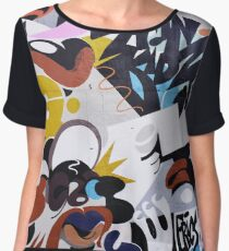 Urban colorful graffiti city wall hip hop lips Chiffon Top