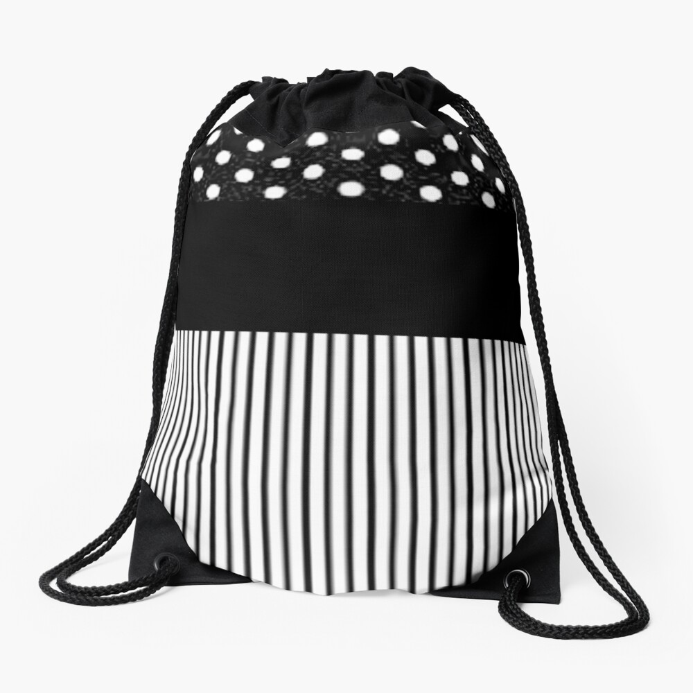 Black Stripes and Polka Dots Drawstring Bag