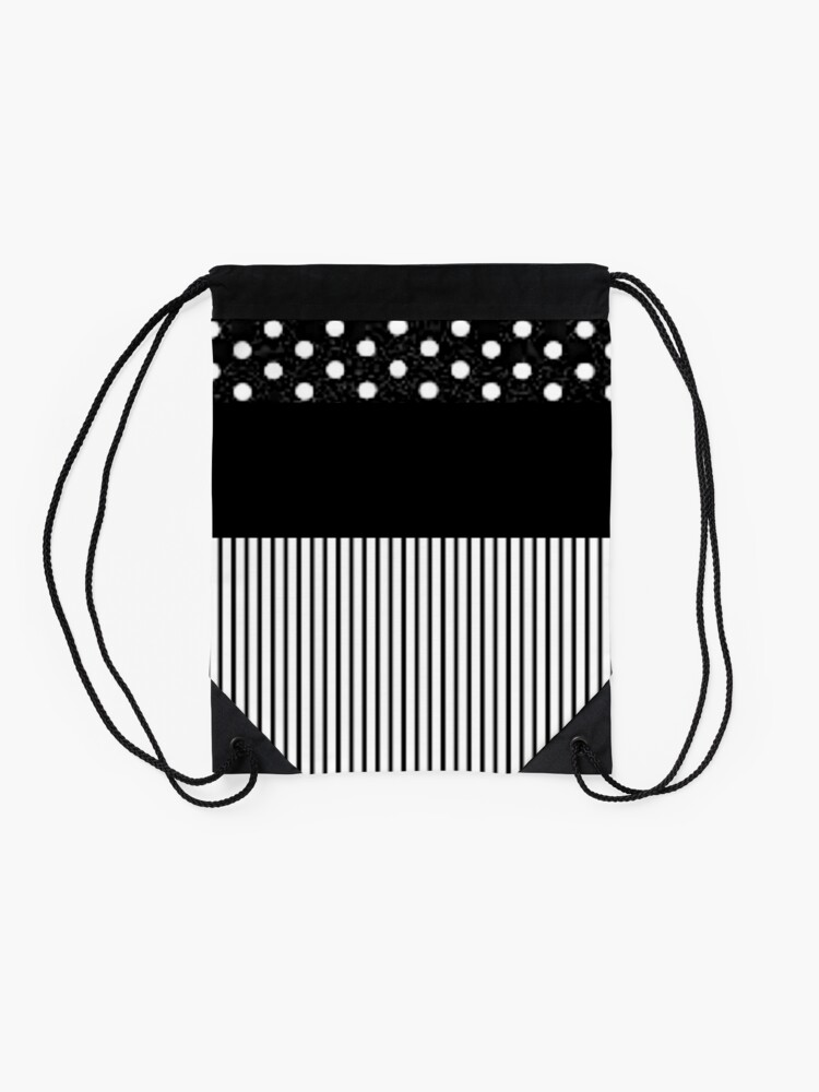 Alternate view of Black Stripes and Polka Dots Drawstring Bag