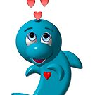Cute 3-D Look Dolphin with Hearts by Artist4God