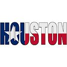Houston TX Text with Lone Star Flag by VisualIdeas