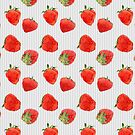 Strawberries on Stripes grey by Mariana Musa