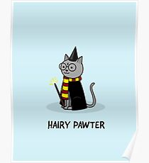Hairy Pawter Cat Poster