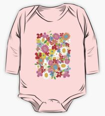 Colorful Whimsical Spring Flowers Garden One Piece - Long Sleeve
