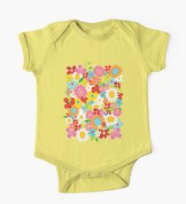 Colorful Whimsical Spring Flowers Garden One Piece - Short Sleeve