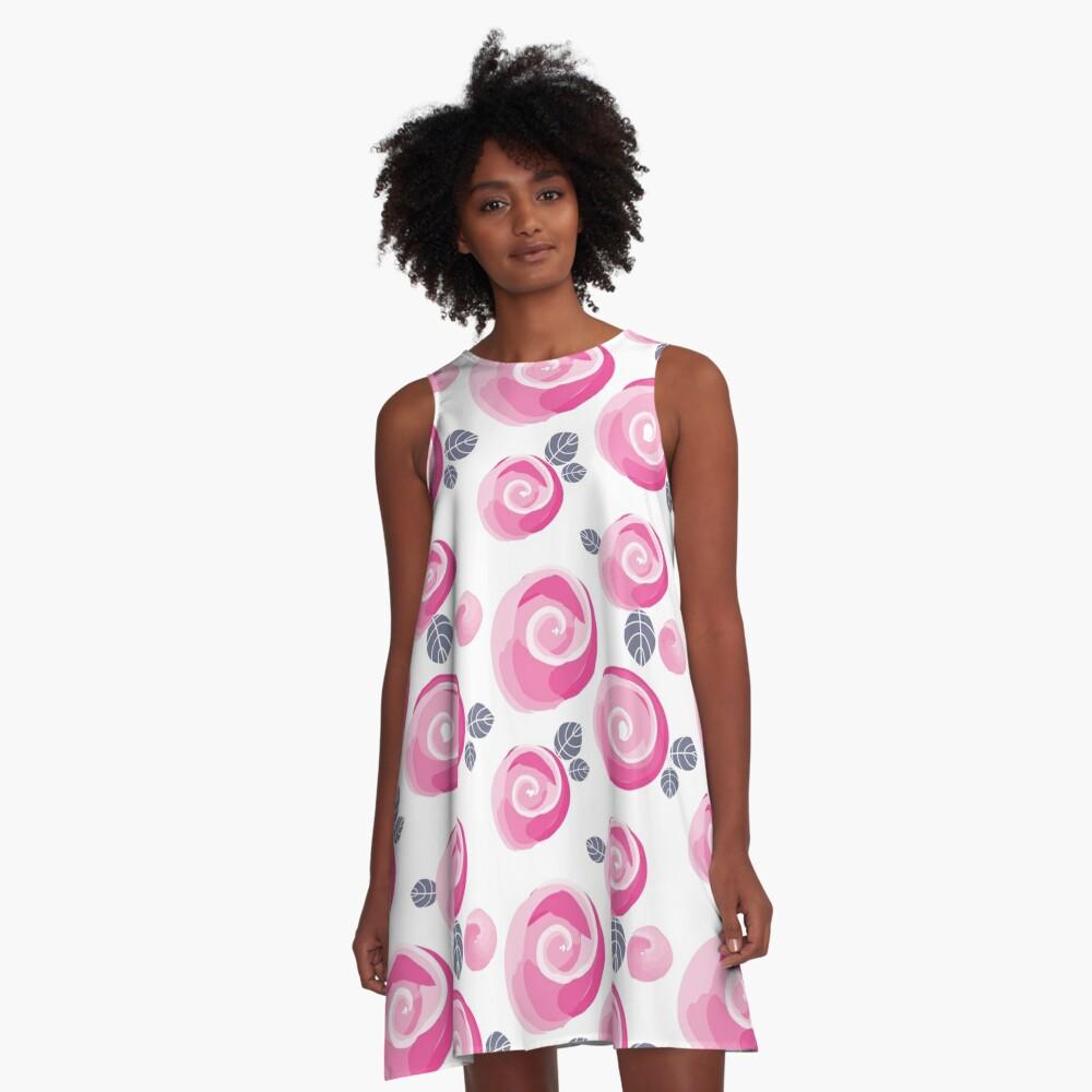 Auroras Rosen A-Linien Kleid