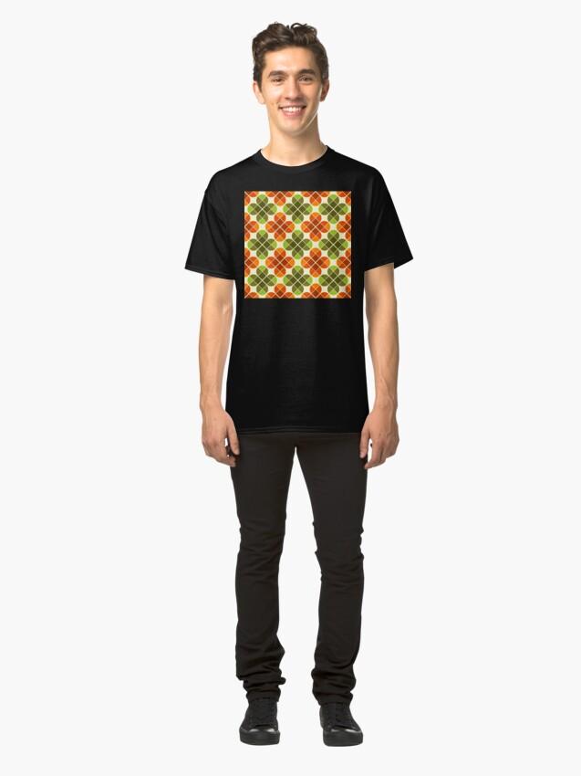 Alternate view of Geometric Pattern: Flower: Four Petal: Green/Orange Classic T-Shirt