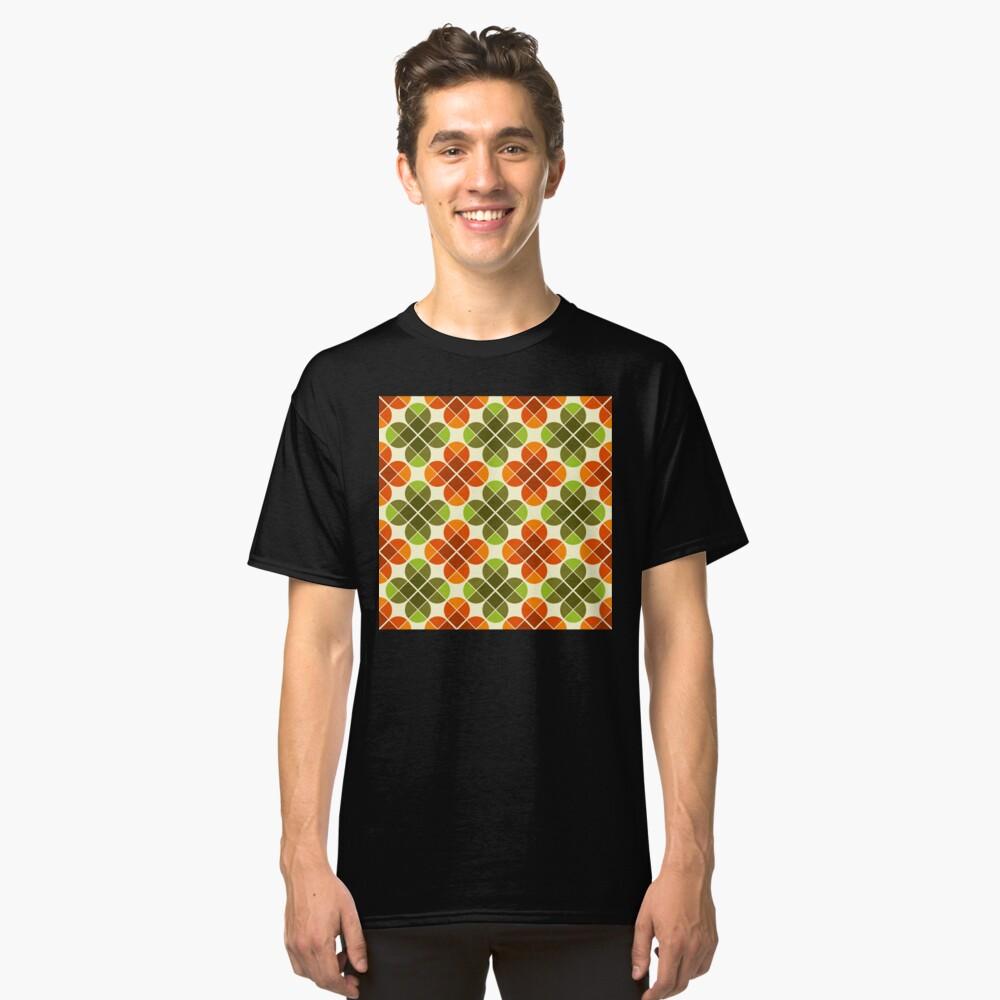 Geometric Pattern: Flower: Four Petal: Green/Orange Classic T-Shirt