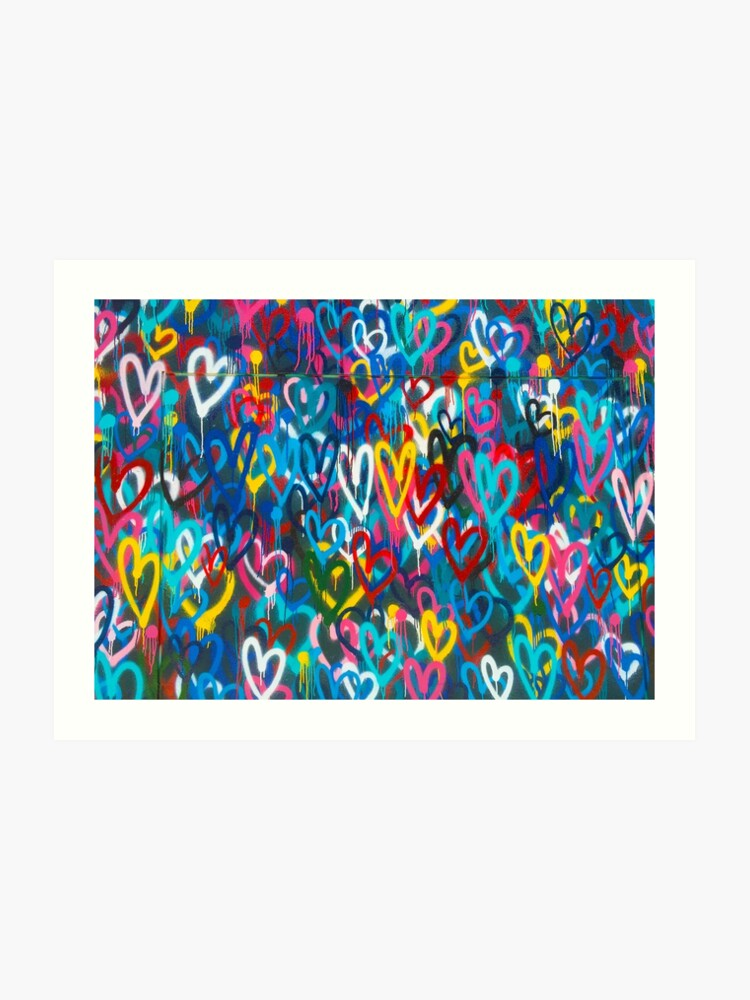 Graffiti Urban Colorful Graffiti City Wall Chaotic Hearts Pattern Painting Grunge Rainbow Art Print