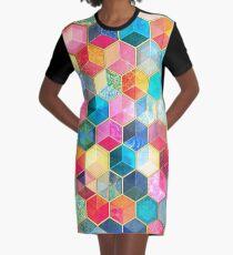 Vestido camiseta Crystal Bohemian Honeycomb Cubes - patrón hexagonal de colores