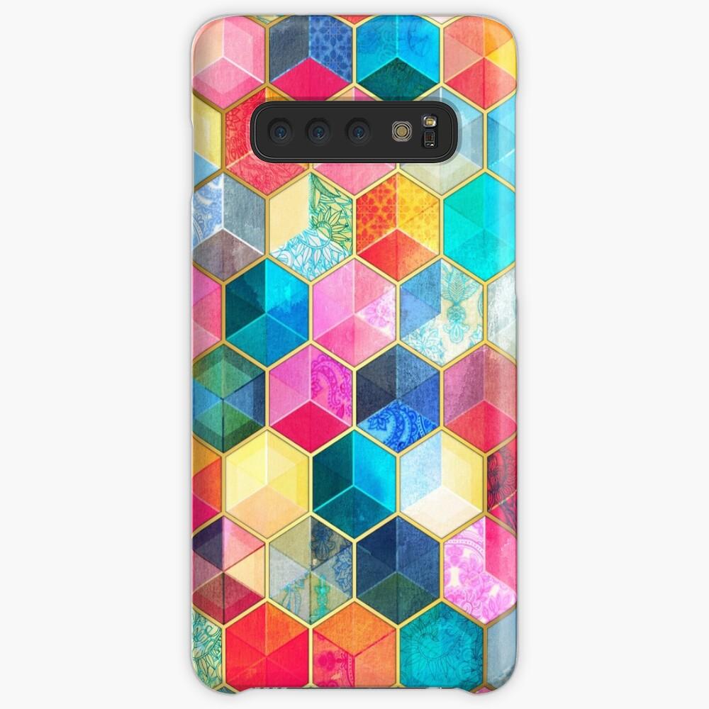 Kristallböhmische Bienenwaben-Würfel - buntes Hexagonmuster Hüllen & Klebefolien für Samsung Galaxy