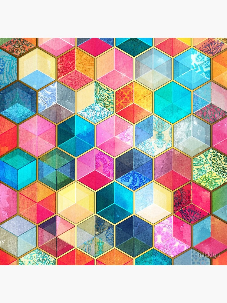Kristallböhmische Bienenwaben-Würfel - buntes Hexagonmuster von micklyn