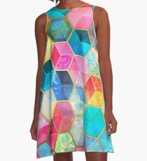 Crystal Bohemian Honeycomb Cubes - colorful hexagon pattern A-Line Dress