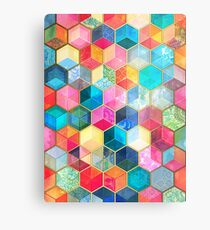 Crystal Bohemian Honeycomb Cubes - colorful hexagon pattern Metal Print