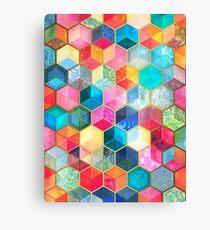 Crystal Bohemian Honeycomb Cubes - colorful hexagon pattern Canvas Print