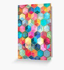 Tarjeta de felicitación Crystal Bohemian Honeycomb Cubes - patrón hexagonal de colores