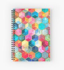 Crystal Bohemian Honeycomb Cubes - colorful hexagon pattern Spiral Notebook