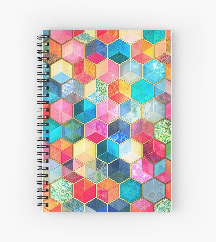 «Crystal Bohemian Honeycomb Cubes - patrón hexagonal de colores» de micklyn