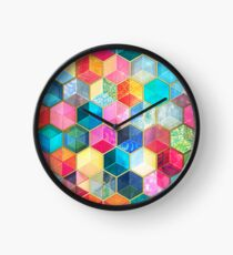 Crystal Bohemian Honeycomb Cubes - colorful hexagon pattern Clock