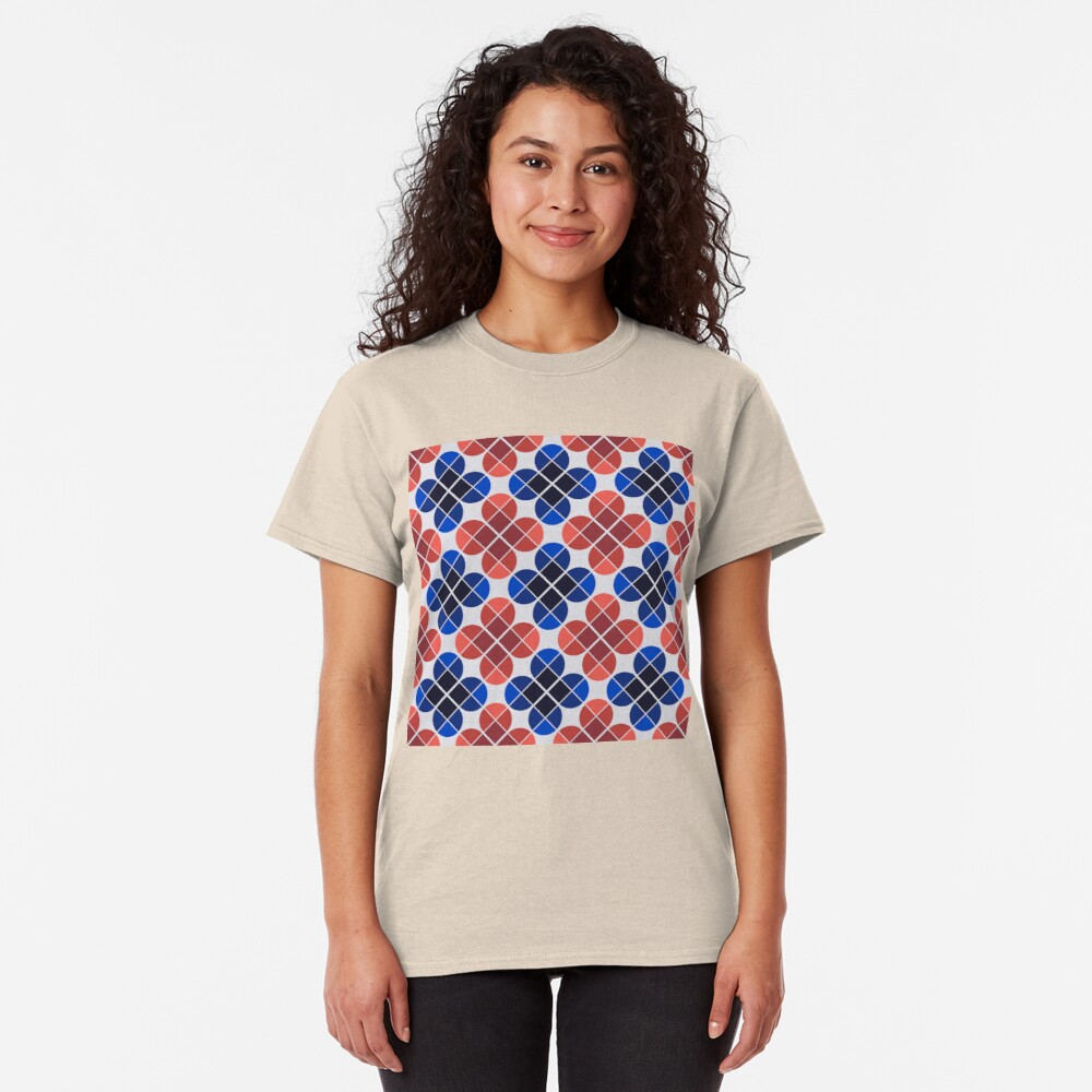 Geometric Pattern: Flower: Four Petal: Blue/Red Classic T-Shirt
